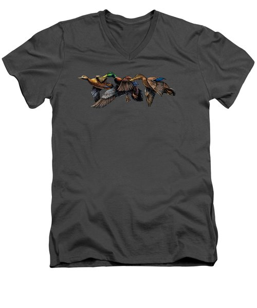 Mallard Ducks In Flight Men's V-Neck T-Shirt