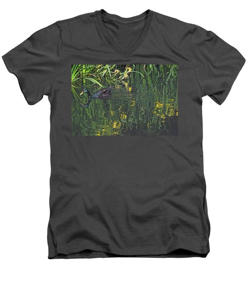 Mallard In The Marsh Men's V-Neck T-Shirt
