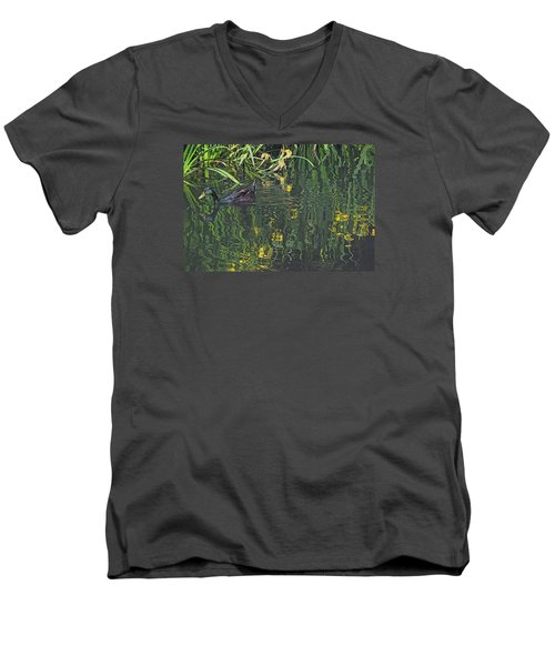 Mallard In The Marsh Men's V-Neck T-Shirt