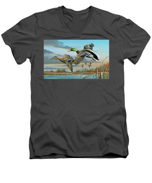 Mallards In Flight Men's V-Neck T-Shirt by Mike Brown