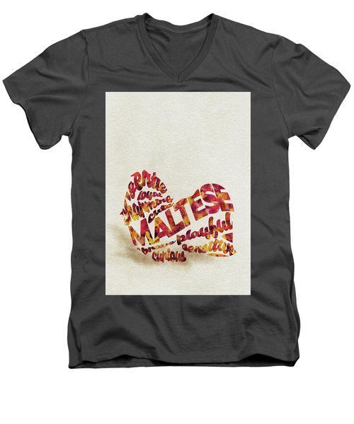 Men's V-Neck T-Shirt featuring the painting Maltese Dog Watercolor Painting / Typographic Art by Ayse and Deniz