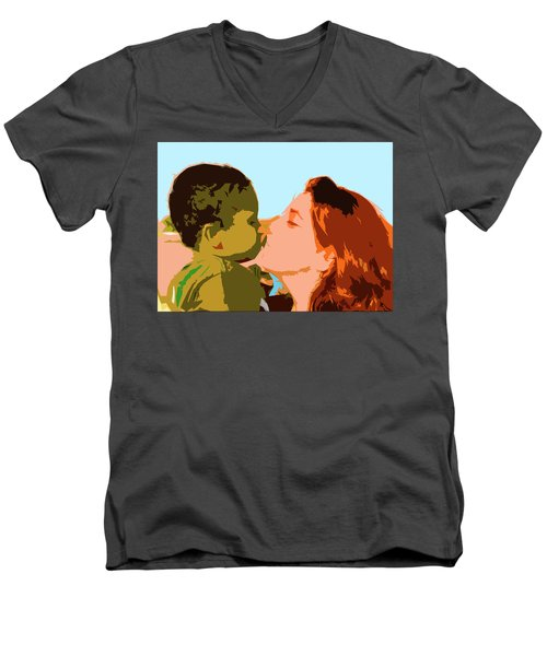 Mama And Me Men's V-Neck T-Shirt by Josy Cue