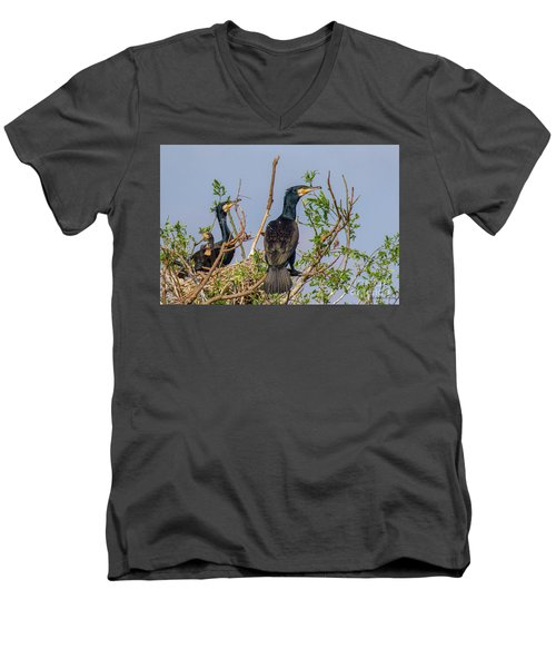 Mama, Papa And Kids - Danube Delta Men's V-Neck T-Shirt by Jivko Nakev