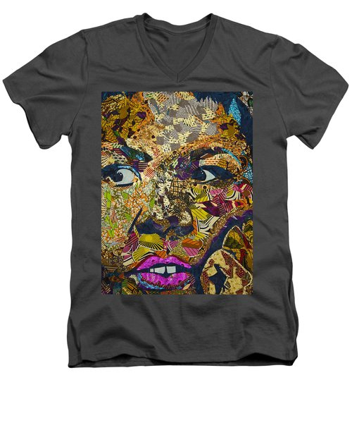 Men's V-Neck T-Shirt featuring the tapestry - textile Mama's Watching by Apanaki Temitayo M