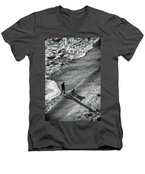 Man And Dog On The Beach Men's V-Neck T-Shirt