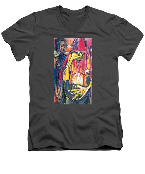 Men's V-Neck T-Shirt featuring the painting Man And Woman Pregnant by Kenneth Agnello