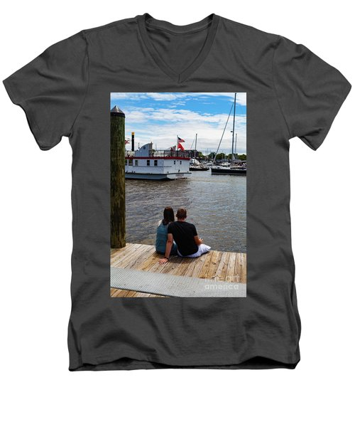 Man And Woman Sitting On Dock Men's V-Neck T-Shirt