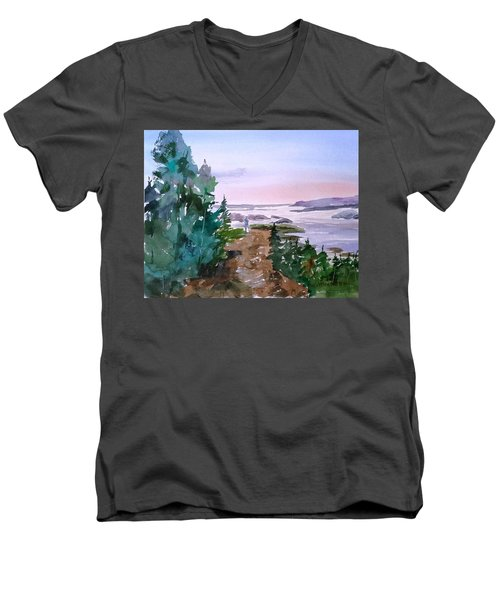 Man At Fraser Lake Bc Men's V-Neck T-Shirt