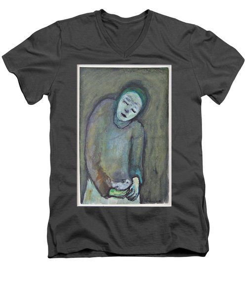 Man Holding Bird Men's V-Neck T-Shirt