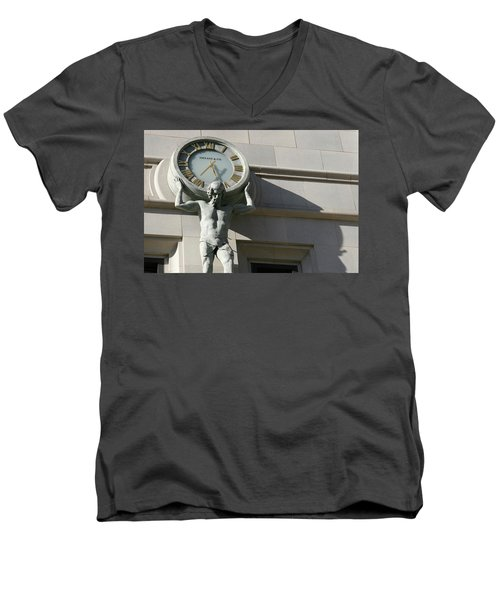 Man Holding Up Time Men's V-Neck T-Shirt