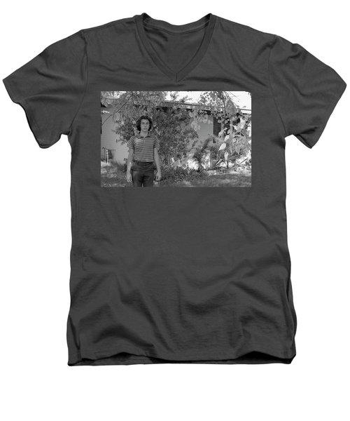Man In Front Of Cinder-block Home, 1973 Men's V-Neck T-Shirt
