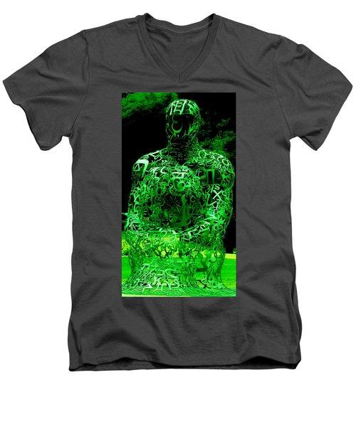 Man In Green Men's V-Neck T-Shirt