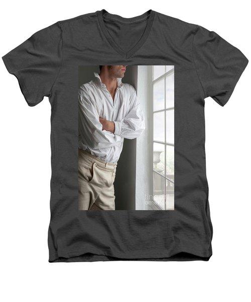 Man In Historical Shirt And Breeches Men's V-Neck T-Shirt by Lee Avison