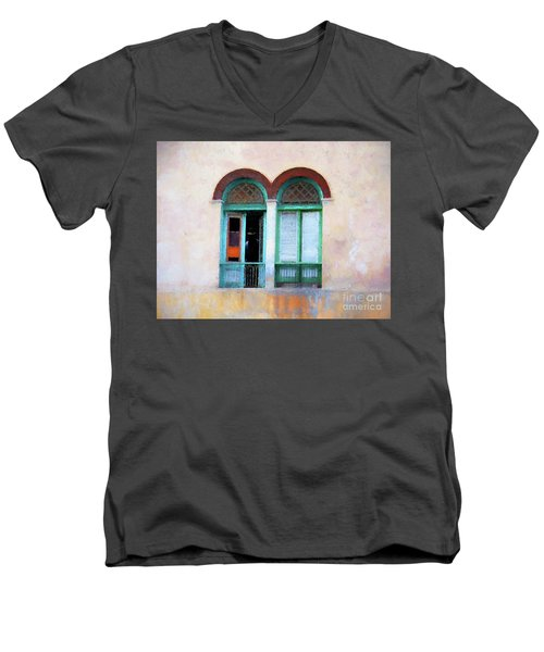 Men's V-Neck T-Shirt featuring the mixed media Man In The Shadows by Jim  Hatch