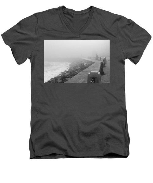 Man Waiting In Fog Men's V-Neck T-Shirt