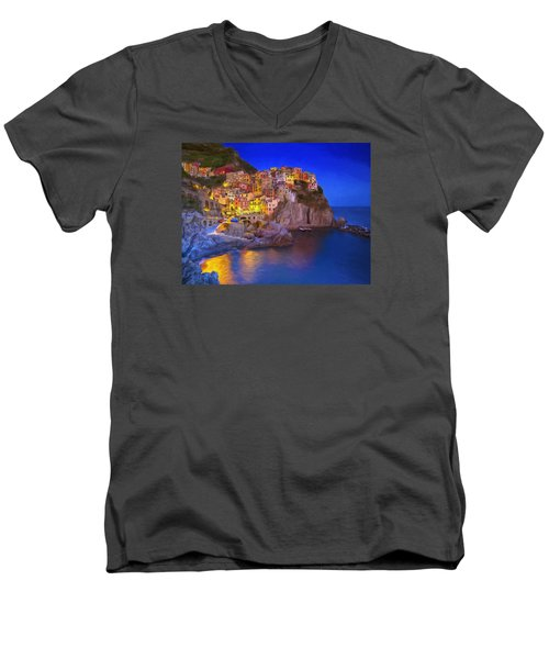 Manarola By Moonlight Men's V-Neck T-Shirt by Dominic Piperata
