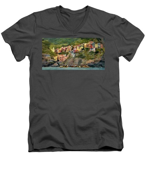 Men's V-Neck T-Shirt featuring the painting Manarola by Jeff Kolker