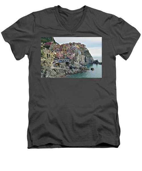 Men's V-Neck T-Shirt featuring the photograph Manarola Version Three by Frozen in Time Fine Art Photography