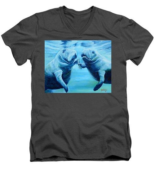 Manatees Socializing Men's V-Neck T-Shirt by Lloyd Dobson