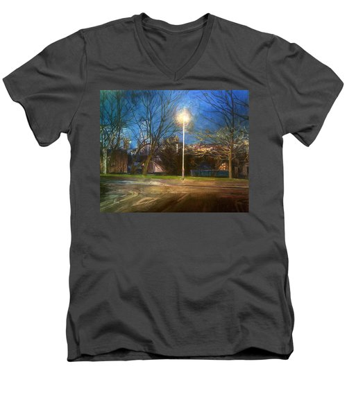 Manchester Street With Light And Trees Men's V-Neck T-Shirt