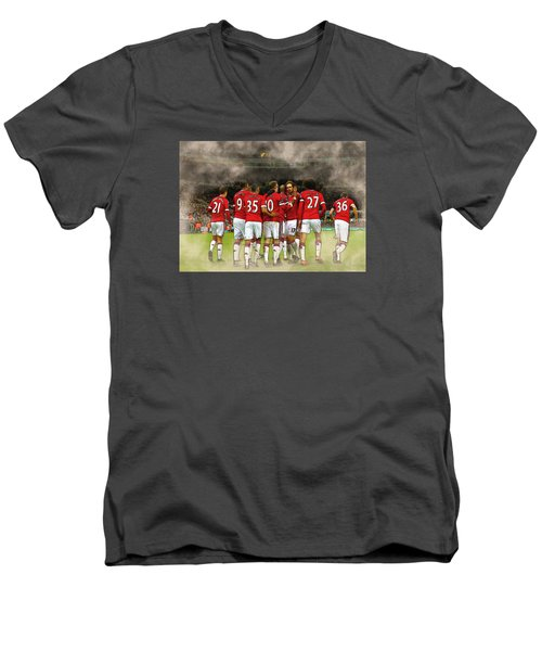 Manchester United  In Action  Men's V-Neck T-Shirt by Don Kuing