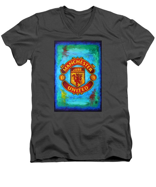 Manchester United Vintage Men's V-Neck T-Shirt