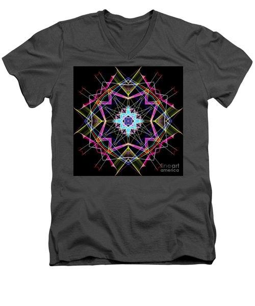 Men's V-Neck T-Shirt featuring the digital art Mandala 3304a  by Rafael Salazar