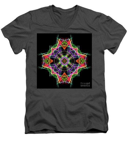 Men's V-Neck T-Shirt featuring the digital art Mandala 3324a by Rafael Salazar