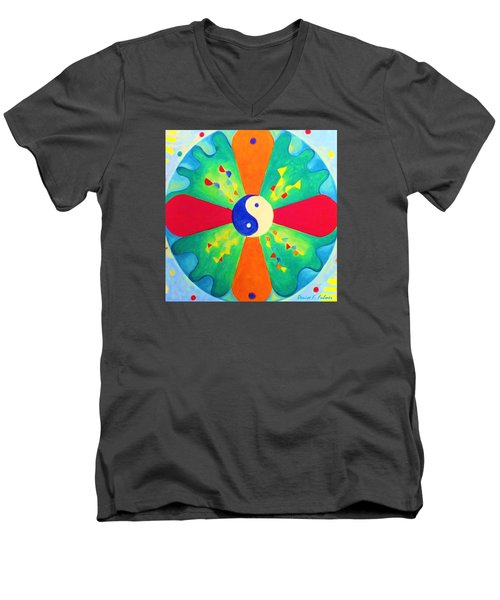Men's V-Neck T-Shirt featuring the painting Mandala by Denise Fulmer