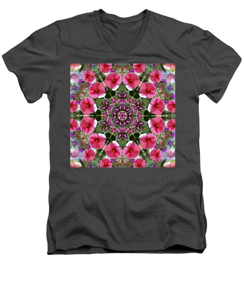 Men's V-Neck T-Shirt featuring the digital art Mandala Pink Patron by Nancy Griswold