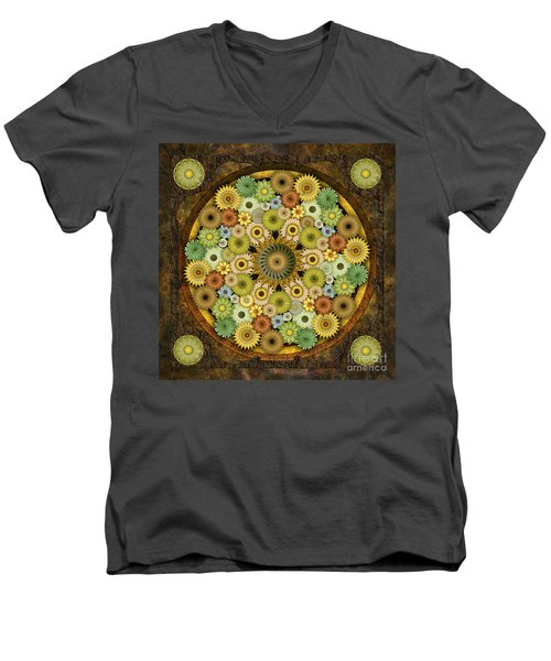 Mandala Stone Flowers Men's V-Neck T-Shirt