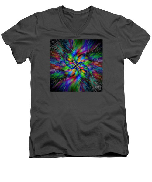 Men's V-Neck T-Shirt featuring the photograph Mandala Twirl 01 by Jack Torcello