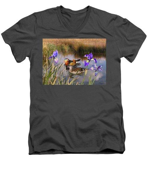 Mandarin Ducks And Wild Iris Men's V-Neck T-Shirt
