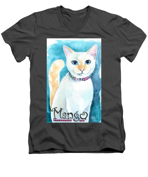Mango - Flame Point Siamese Cat Painting Men's V-Neck T-Shirt