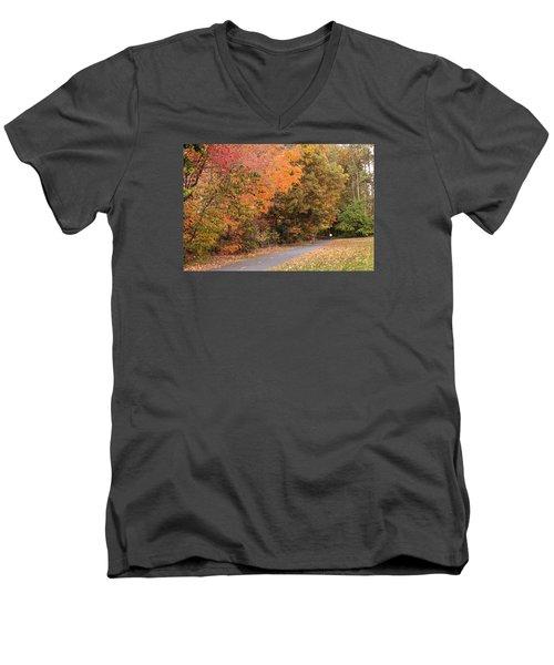 Manhan Rail Trail Fall Colors Men's V-Neck T-Shirt