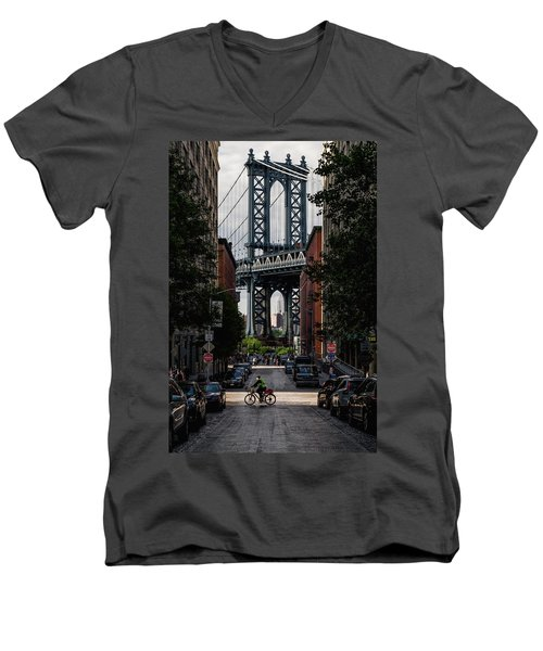 Manhattan Bridge  Men's V-Neck T-Shirt