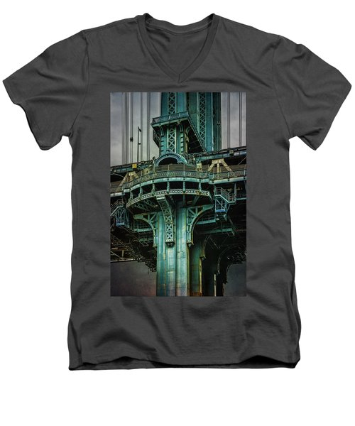 Men's V-Neck T-Shirt featuring the photograph Manhattan Bridge Tower by Chris Lord