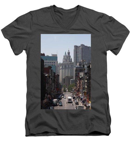 Manhattan Chinatown Men's V-Neck T-Shirt by Vadim Levin