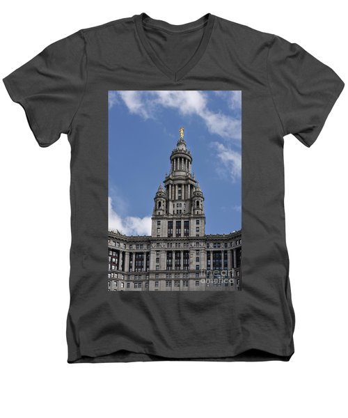 Men's V-Neck T-Shirt featuring the photograph Manhattan City Hall by Judy Wolinsky