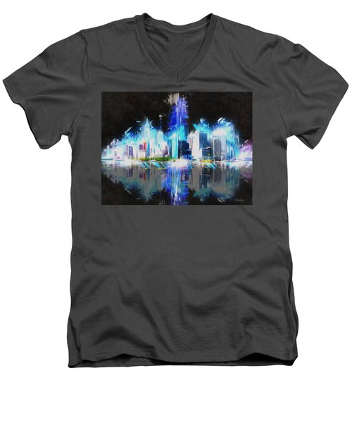 Manhattan Downtown Lights Men's V-Neck T-Shirt by Kai Saarto