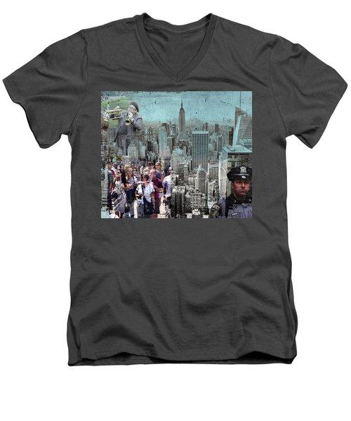 Manhattan Men's V-Neck T-Shirt by Judi Saunders