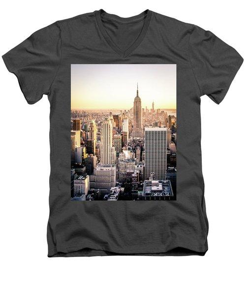 Manhattan Men's V-Neck T-Shirt by Michael Weber
