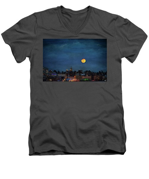 Manhattan Moonrise Men's V-Neck T-Shirt by Chris Lord