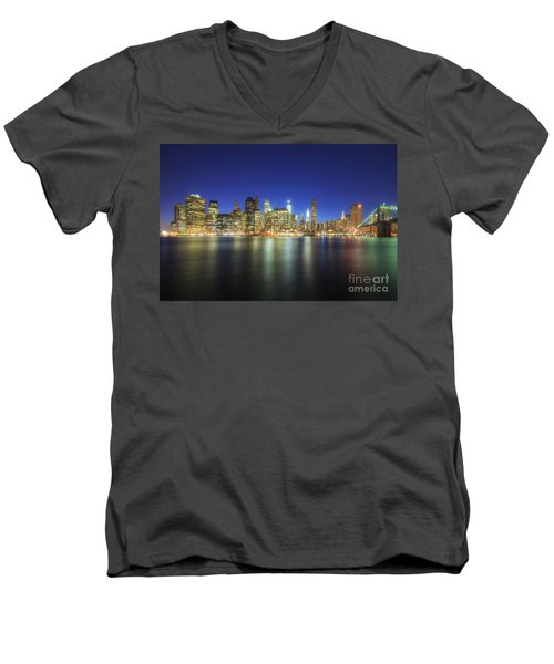 Manhattan Nite Lites Nyc Men's V-Neck T-Shirt by Yhun Suarez