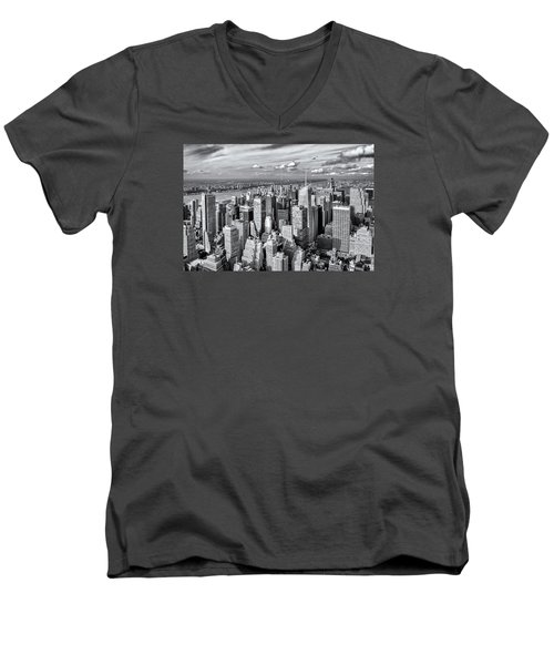 Men's V-Neck T-Shirt featuring the photograph Manhattan  by Sabine Edrissi