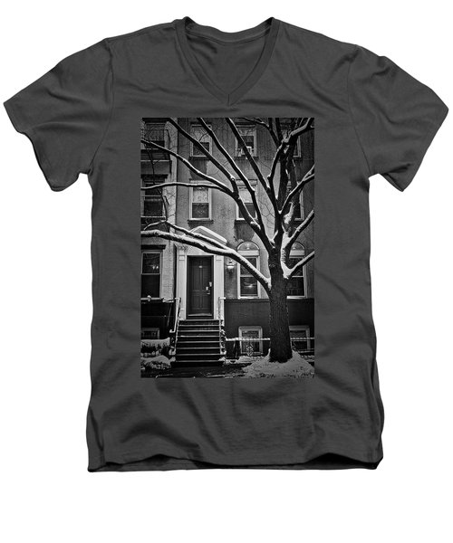Manhattan Town House Men's V-Neck T-Shirt by Joan Reese