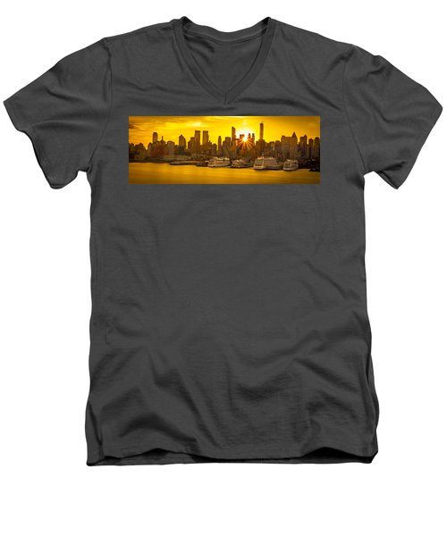 Manhattan's Ports At Sunrise Men's V-Neck T-Shirt
