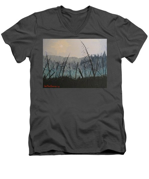 Men's V-Neck T-Shirt featuring the painting Manitoulin Beaver Meadow by Ian  MacDonald