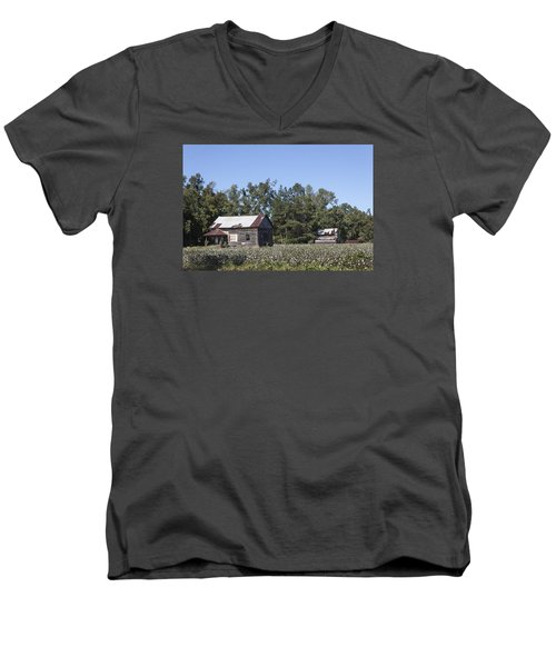 Manning Cotton Field With Barns Men's V-Neck T-Shirt by Suzanne Gaff