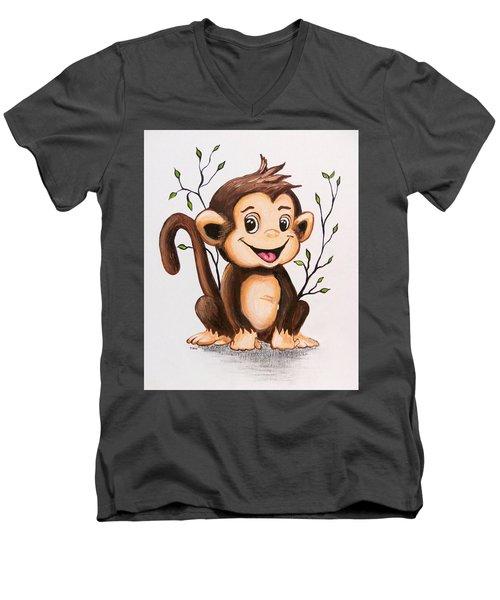Manny The Monkey Men's V-Neck T-Shirt